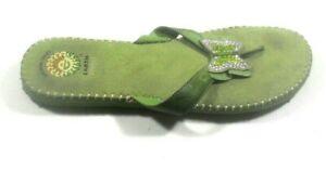 Earth Spirit Gelron 2000 Desha Green Leather Butterfly Slip On Flip Flops 9/41 M