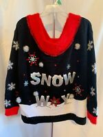 "Holiday Time Women's Black ""SNOW WAY"" XL, XXL Sequin Ugly Sweater Christmas NWT"