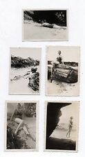 Lot 5 PHOTOS Femme Plage Maillot de bain Sexy Pin up Vers 1930 Érotique Jambes