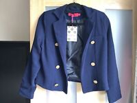 Boohoo Navy Military Cropped Blazer Size 8 New Tags