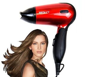 Red Hot Professional Style Hair Dryer Hairdryer with Concentrator Nozzle