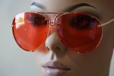 Mens or Women VINTAGE RETRO AVIATOR Style SUN GLASSES Gold Frame Rare Red Lens