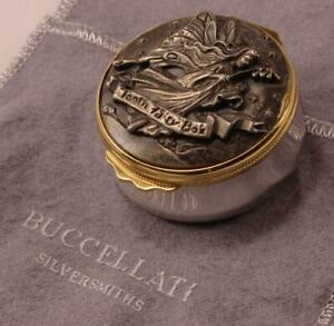 BUCCELLATI TOOTH FAIRY STERLING SILVER PILL BOX w/ DETAILED HIGH RELIEF ARTWORK