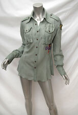 NOLITA Green Cotton Military Style Patch Detail Utility Shirt I46 Fits M