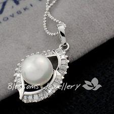 Back order 18K White GOLD GF Angel EYE Pearl Wedding NECKLACE with CRYSTAL ES479