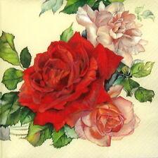 4x Vintage Roses Paper Napkins for Decoupage Craft