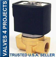 "1/4"" 24VDC Electric Solenoid Valve, Brass, Air Gas Water, N/C,  24-Volt DC B20V"
