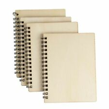 """4 Pcs Blank Spiral Notebooks, Unruled, Wood cover, Journals, Gifts, 4.5"""" x 5.8"""""""