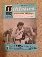 Vintage Athletics Weekly magazine 23 March 1974 - EUROPEAN INDOOR CHAMPS
