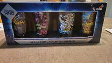 New listing Doctor Who 16 oz. Pint Glass Set of 4 Tardis Cybermen Daleks Silence 2012 Vandor