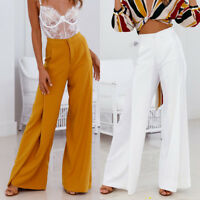 Womens Solid OL Loose Stretch High Waist Wide Leg Long Pants Palazzo Trousers
