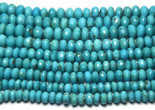 """CLEARANCE! 8"""" Strand TURQUOISE Faceted Rondelle Beads"""