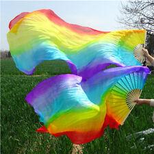 Rainbow 1 pair(left + right) 100% silk veil belly dance fan 1.8m