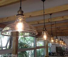 Modern Clear Vintage Glass Ceiling Lamp Shade Pendant Light Chandeliers Fitting 1light 8w LED Bulb