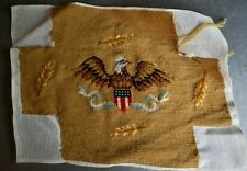 "Vtg Needle Point Tapestry Stool Cover Finished 14"" X 10"" Federal Eagle"