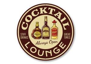 Cocktail Lounge Always Open Sign, Bar Aluminum Sign
