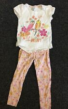 Girls Top & Leggings Set Size 4-5yrs Peach Coral Birds Pink White