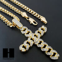 Hip Hop Iced Lab Diamond 14K Gold PT Cross Pendant w/ 4mm Cuban Chain B025SG