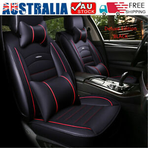 5-Seat Car Seat Cover Front + Rear Cushion Pillow Full Set PU leather Universal