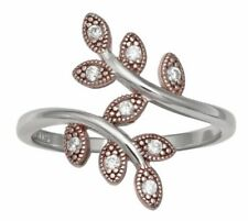 New Two Tone Cubic Zirconia 18kt Rose Gold & Sterling Silver Vine Ring Sz 7