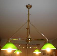 1970s RETRO SNOOKER TABLE LIGHTS 4 x DARK GREEN MILK GLASS SHADES ON 2 GOLD BARS