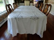 """Vintage White Battenburg Lace Tablecloth Banquet Table Seats 12 130"""" l x 64"""" w"""