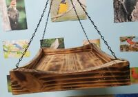 Handmade Feeding Platform with Sturdy Chain for Hanging and Torched Finish.