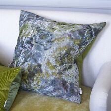 DESIGNERS GUILD Forsyth Moss Green Cut Velvet Large Cushion Cover - 60x60cm