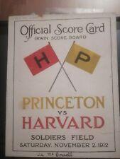 HOBEY BAKER 1912 PRINCETON VS HARVARD SOLDIERS FIELD NHL HOCKEY PROGRAM FOOTBALL