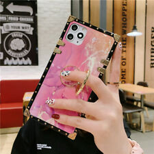 For iPhone 12 11 Pro Max XS XR 6 7 8+ Metal Marble Pink Luxury Holder phone Case