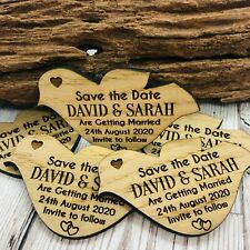 Personalised Rustic Wooden Dove Save The Date Fridge Magnets Wedding Invites
