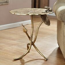 Lily Pad Flower Accent End Table With Frog & Dragonfly Lilypad