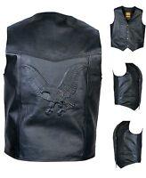 REAL LEATHER WAISTCOAT  Biker Vest Motorcycle MotorBike Black / Embossed Eagle
