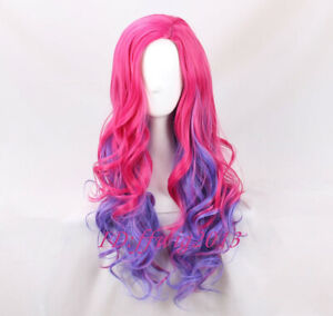 Descendants 3 Audrey Pink mixed Blue Cosplay Wig Synthetic Costume + a wig cap