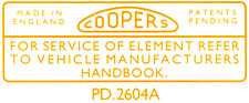 Mini Coopers Air Filter Sticker LMG1044 Morris Minor Austin A40 Wolseley Riley
