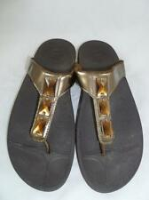 FITFLOP/FIT FLOPS 11 USED BRONZE LEATHER COMFORT SANDALS/FLIP FLOPS/THONGS