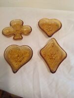Tiara Amber Sandwich Bridge Set - 2 Hearts No Spades - Nut Dish Indiana Glass