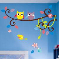 Deko Blumen Vogel Eule Natur Wandsticker Wandtattoo Aufkleber Kinder Sticker