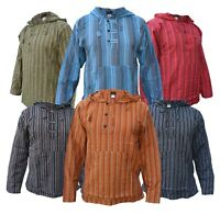 Hippie Collarless Grandad Striped Cotton Natural Shirt Top Nepalese Hoody