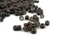 PACK OF 1000 SILICONE MICRO RINGS BEADS 5mm BROWN FOR I-TIP FEATHER EXTENSIONS