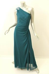 ALEX EVENINGS Teal One Shoulder Mesh Beaded Gown 10