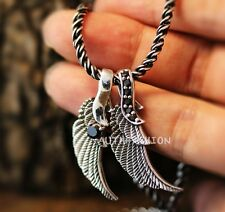 Sterling Silver Double Angel wing Necklace Set Onyx 3mm Thick Hiphop Chain