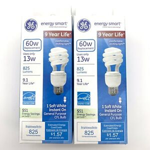 2-Pack GE Energy Smart CFL Soft White Spiral Bulb 13 Watt/60 Watt 825 Lumens