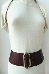 Sepcoeur wine burgundy wine plum soft genuine leather shaped wide belt M