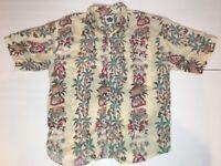 Hilo Hattie Men's Hawaiian Shirt Yellow Floral 100% Silk Size XL EUC