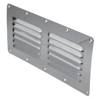 2 x Stainless Steel Rectangular 12 Louvre Air Vent, Caravan, Boat, Wall Eave