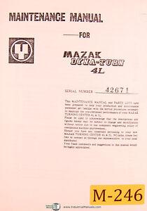 Mazak Dyna Turn 4L, Maintenance M4 & M5,Parts & Circuit Diagrams Manual  (1979)