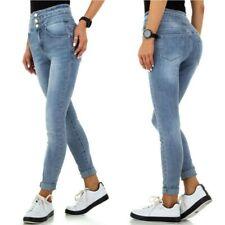 Jeans donna skinny a vita alta stinti risvoltino aderenti denim pantaloni pushup