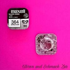 2x Maxell 364 Uhren Batterie Knopfzelle SR621SW AG1 Silberoxid Blisterware Neu