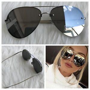 AYZA Damen Piloten Sonnenbrille Cat Eye Vintage Silber Blaze Verspiegelt